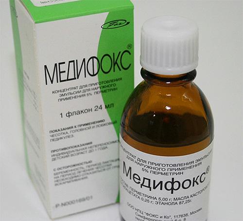 Medifox ha un forte insetticida nella composizione e non dovrebbe essere usato per rimuovere i pidocchi nei bambini.