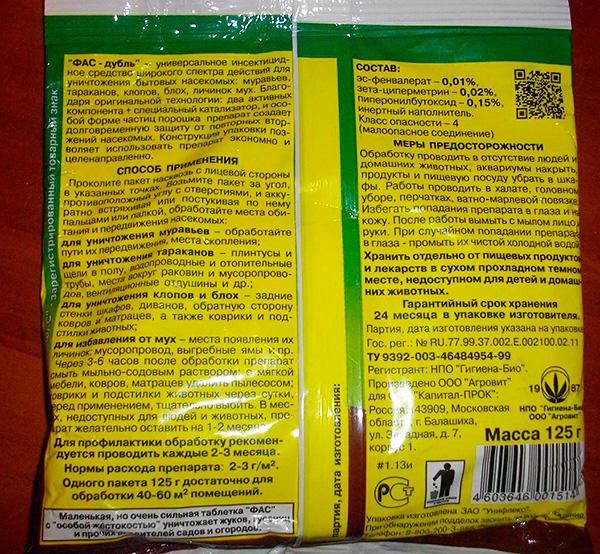La composizione e le istruzioni per l'uso dell'agente insetticida Fas-Double