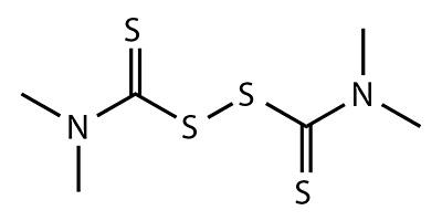 Thiuram (tetramethylthiuram disulfide) - formula chimica